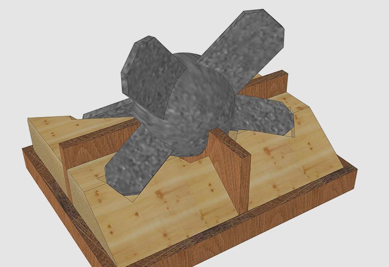 Digital 3D CAD model of jig to assist with fabrication of custom steel components.