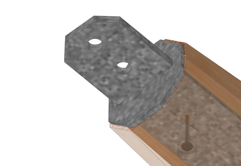 Rendering of custom steel tension plate imbedded in CNC fabricated RF Dry timber