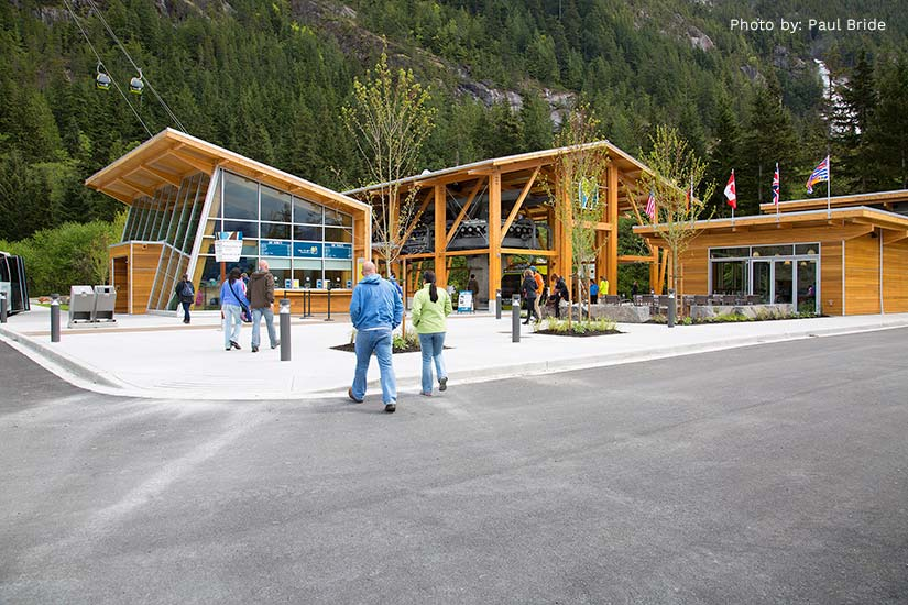 Base camp of Sea to Sky Gondola project comprised of prefabricated glulam components.