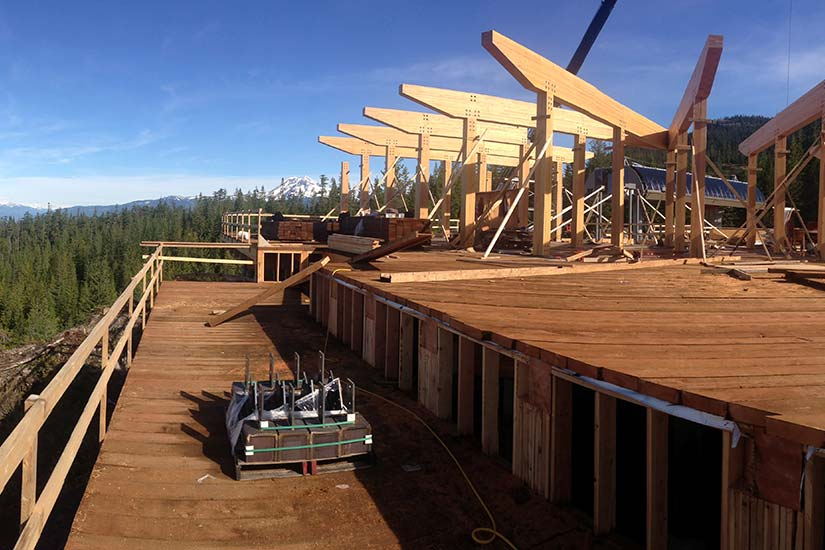 Erection of Sea to Sky Gondola project comprised of prefabricated glulam components.