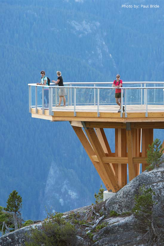 Viewpoint of Sea to Sky Gondola project comprised of prefabricated glulam components.
