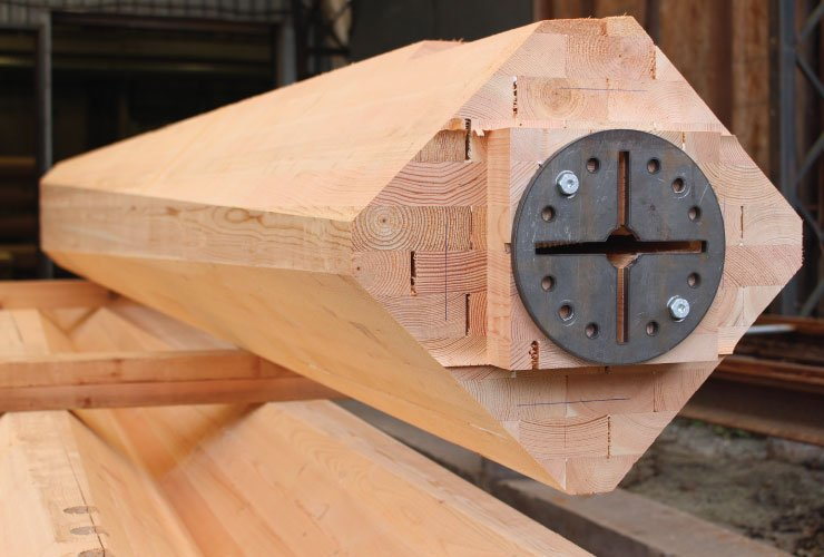 CNC fabricated glulam posts prior to turning