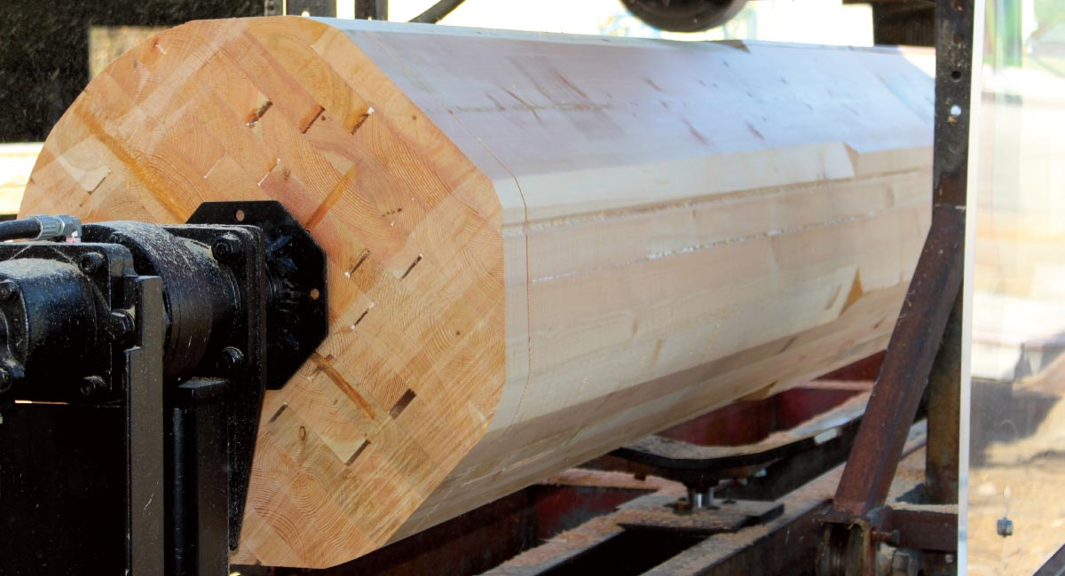 Douglas Fir glulam post being turned