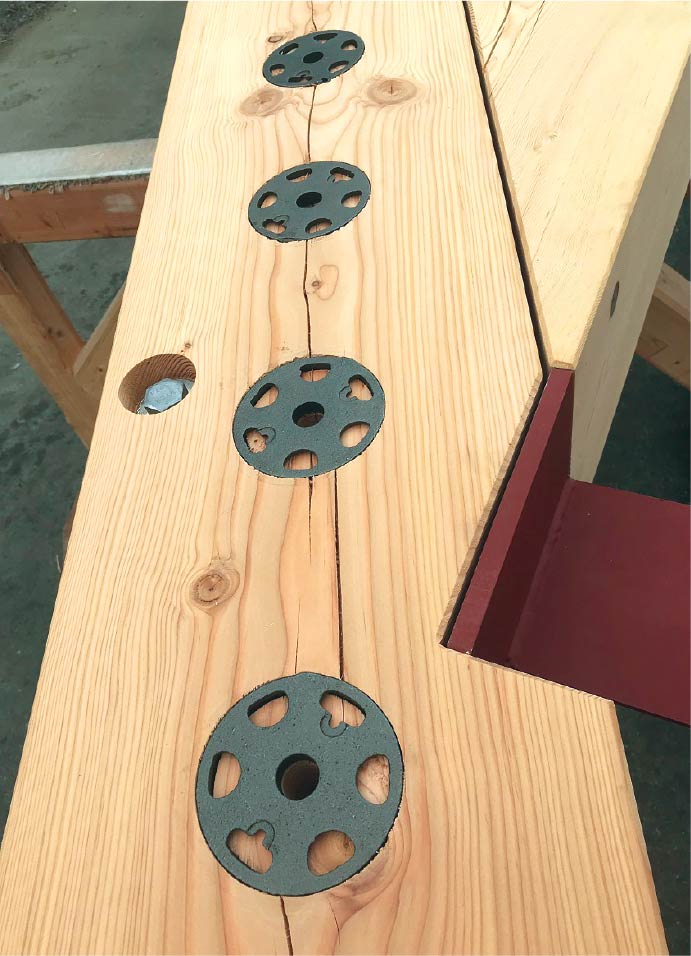 Shear Plates used in Douglas Fir Timber Truss Connection