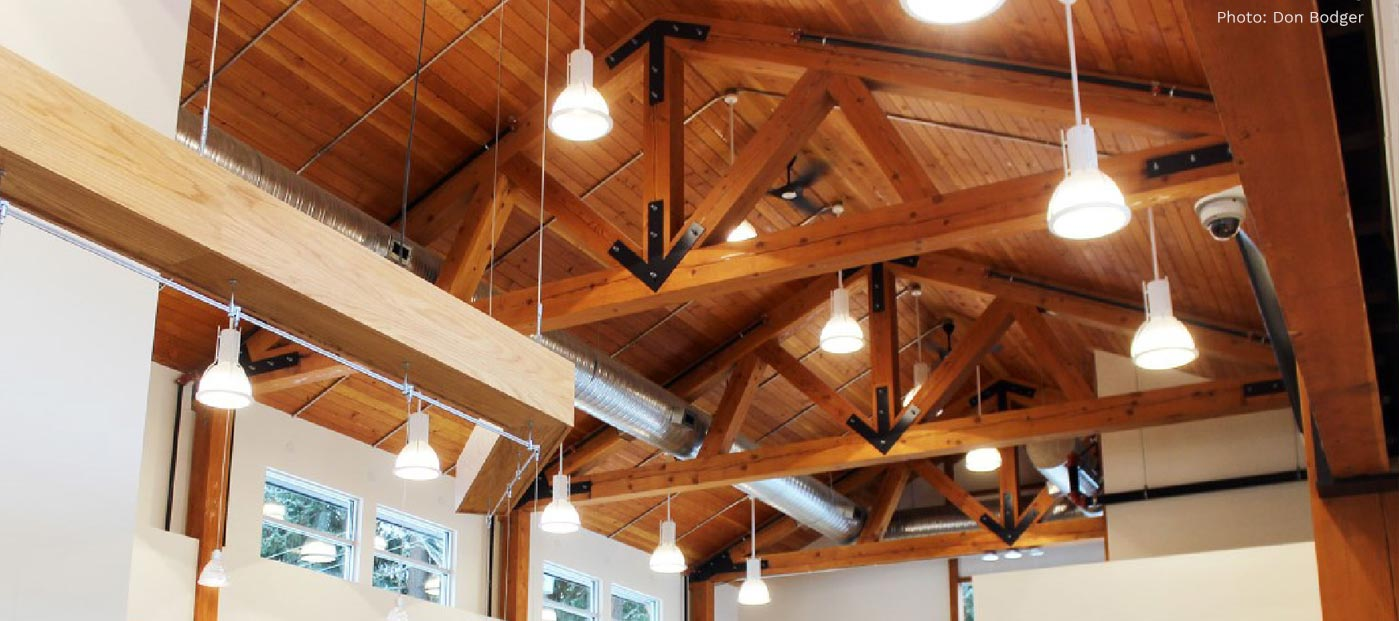 CNC Fabricated Douglas Fir Timber Trusses in Chemainus LIbrary