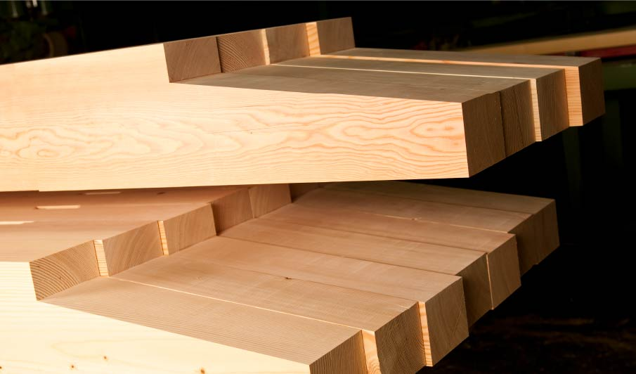 CNC fabricated end profiles on douglas fir timber