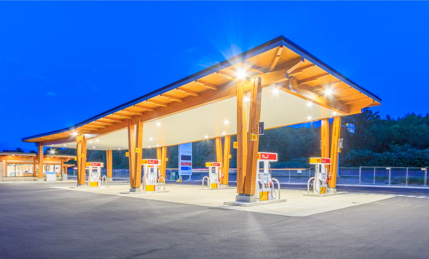 Prefabricated douglas fir glulam and timber gas station