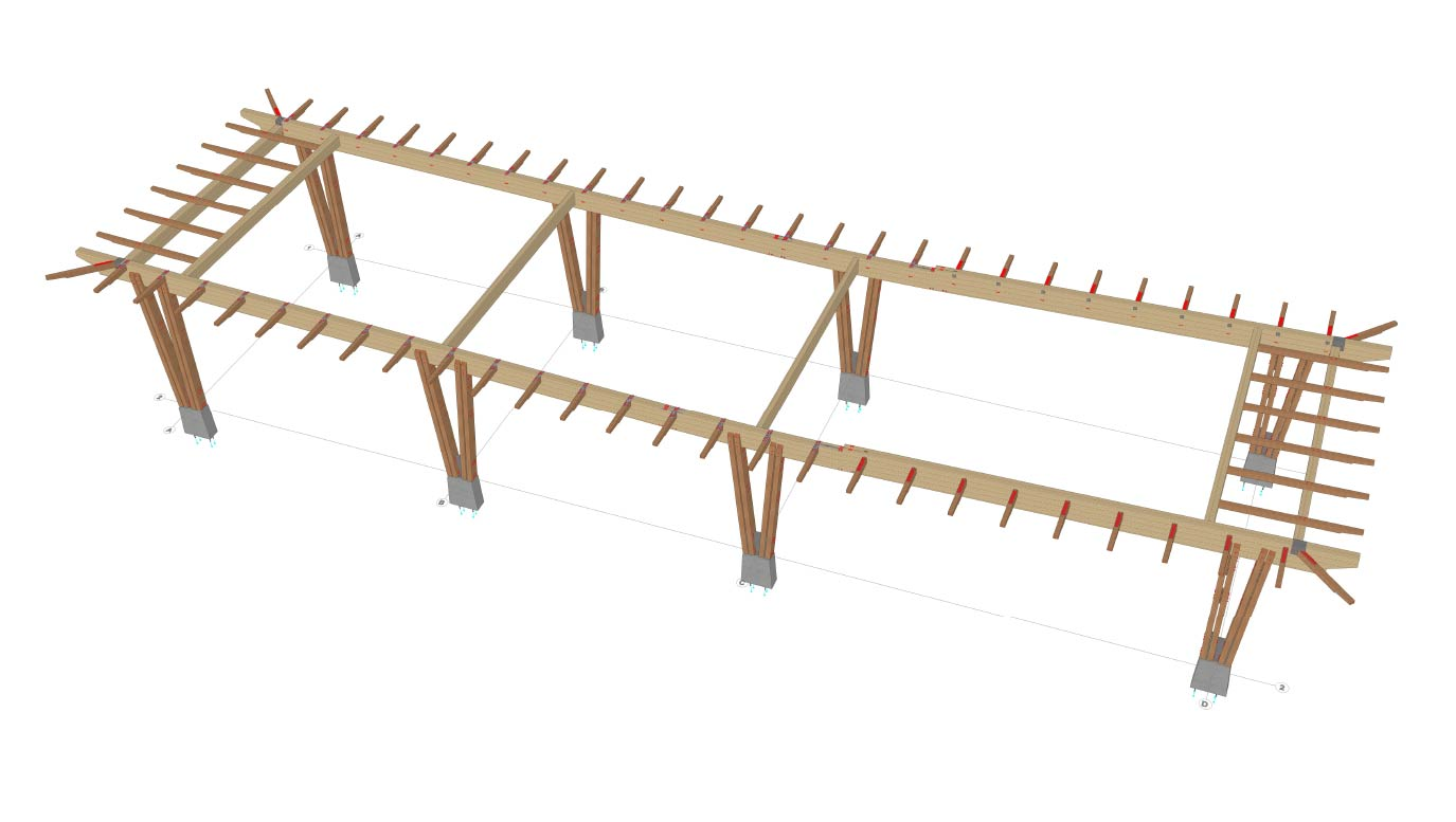Rendering of timber and glulam structural components for Snaw Naw As gas station